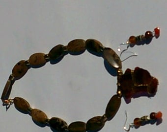 Wire wrapped amber and jasper necklace with earrings