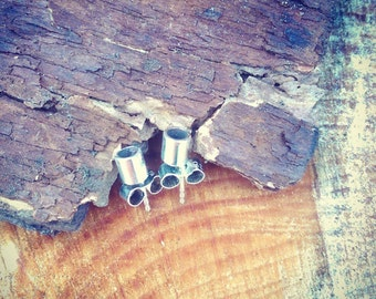 Sterling silver tube earrings