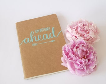 Kraft paper notebook A5 squared with hand-made calligraphy - personalization possible! (Embossing, Handlettering, sketch book)