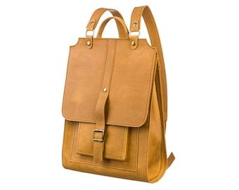 Leather backpack handmade backpack school backpack woman yellow backpack men backpack school bag laptop backpack leather bag big backpack