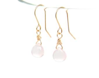 Rose Quartz solid gold earrings