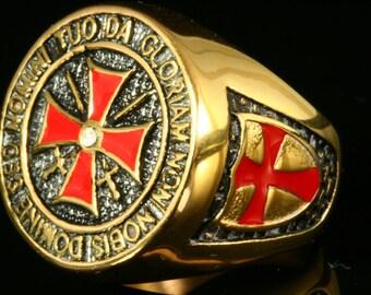 24K Gold Plated Black Stainless Steel Masonic Knights Templar Illuminati Ring