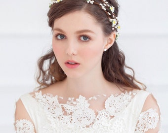 Unique Rustic Romantic Handmade Ivory Flower Bridal Wreath Headband
