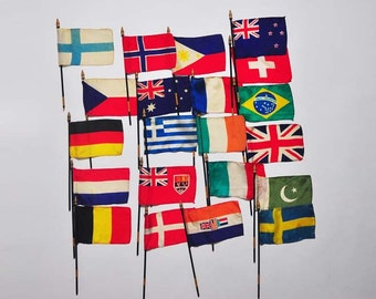 SMALL TOY FLAGS on sticks