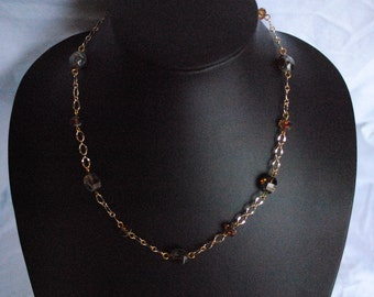 Green and brown bead necklace