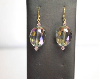 Multi hued glass bead earring