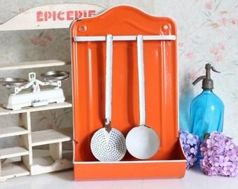 Vintage Orange Enamel Ladle/Utensil Rack