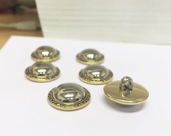 5 X Silver & Gold Plated Vintage Inspired Buttons - 21MM