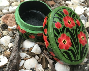 Oval Hand-painted Wood Jewelry Box