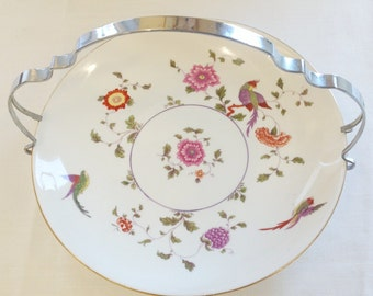 "Crown Staffordshire ""Bird of Paradise"" serving plate with a chrome detachable handle"