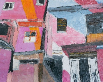 Pink and blue buildings. Original painting. Oil painting. Stretched canvas ready to hang.