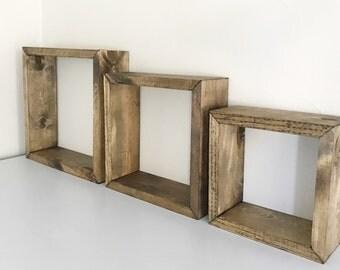 Rustic Box Shelves, Set of 3 Floating Box Shelves, Floating Shelves, Square  Wood