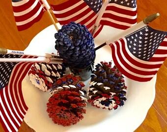 Patriotic Pine Cones