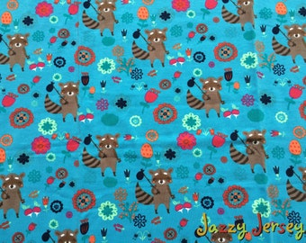 Racoon cotton jersey fabric