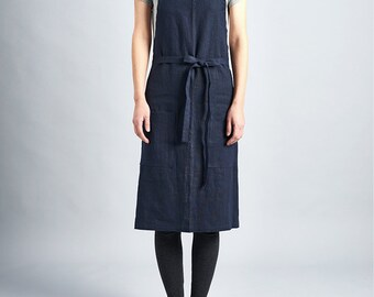 Daily linen apron (Dark Navy) / Premium Linen 100% / man and women apron /half daily apron