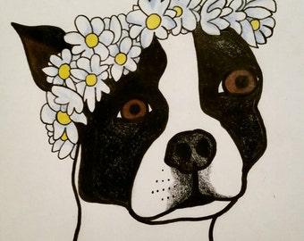 Custom pet flower crown portrait