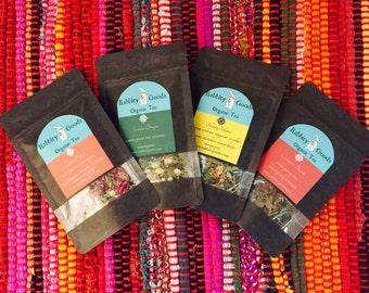 You Pick 4 Samples, Organic Tea, Herbs, Herbal Tea, Sample Size, Tea Sample, Tea Gift, Tea Sampler, Special Occasion, Gift, Loose Leaf Tea