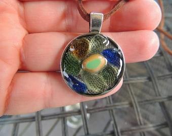 English Sea Glass Resin Pendant
