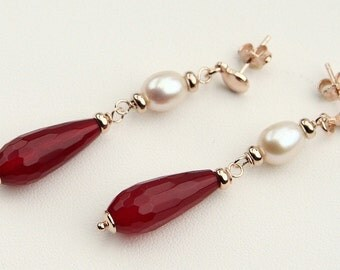 Red Agate Drops and White Pearls, Dangle Earrings in Sterling Silver 925 Rose Plating 24 Kt, Handmade Italian Jewelry, Tuscany's Products
