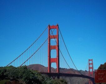 Golden Gate Bridge Photograph, San Francisco, California, San Francisco Bay, Golden Gate Park, Historic Bridges, Bridge Photography, Cables