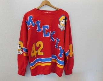 Vintage 80s Disney Mickey Mouse Racing Oversized Retro Sweater