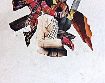 "Paper Collage ""ABDUCTION""; Modern Abstract Art Fashion Magazine Cutout Home Decor"