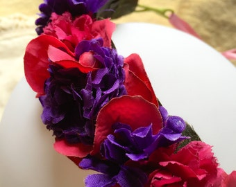 Raspberry and purple synthetic wreath