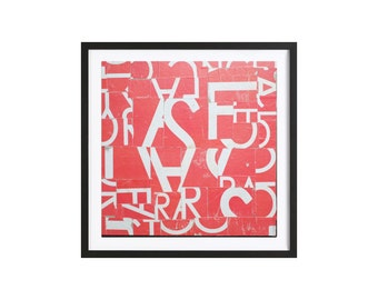 Abstract Collage 'Red/White' Geometric mixed-media original artwork. Poster paper on card. Decorating and design artwork.