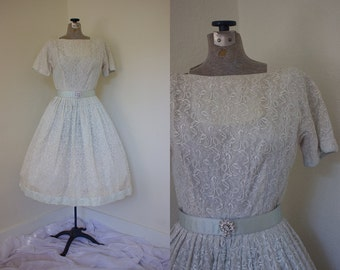 1950s Lace Full Skirted Dress // 50s Wedding Dress // White and Blue Dress with Belt