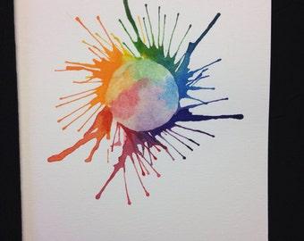 Mother Earth Burst Watercolour Print Card - BLANK INSIDE