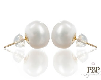 Genuine 5 - 12mm Freshwater Button Pearl Studs on 14k