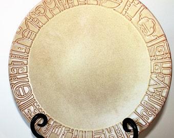 Frankoma Pottery Mayan Aztec (Desert Gold) Dinner Plates 7FL, 1940s Vintage