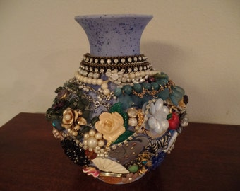 Vintage Embellished Unique One of a Kind Vase