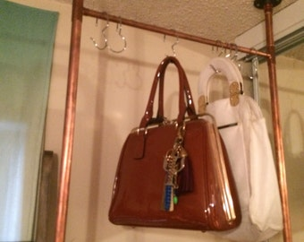 Hanging Ceiling Suspended Copper Piping Clothing Rack. Easy To Install! Copper Closet.