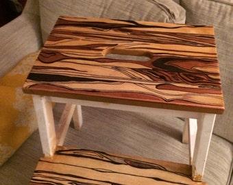 Ikea stepping stool in progress. Painted wood gtrain