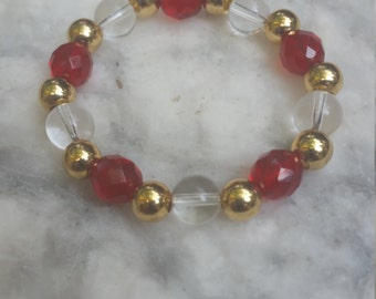 red bracelet, red and gold bracelet, beaded bracelet, womens bracelet