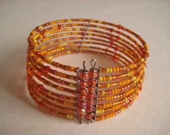 Orange wire cuff bracelet