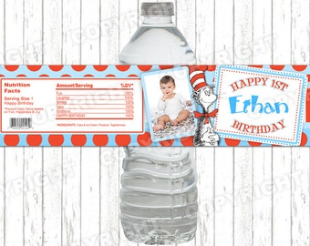 10 Custom Photo Dr. Suess Cat In The Hat Birthday Party Water Bottle Labels - Peel-n-Stick