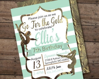 Gymnastics invitation, printable invitation, any age birthday - Modern Girl's Birthday Party Invite - Gymnastics Birthday Party invitation