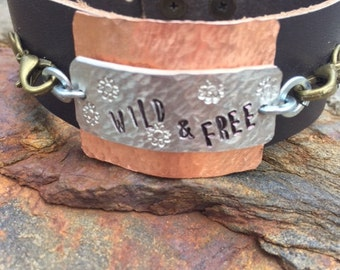 Wild & Free leather cuff hand-stamped bracelet.