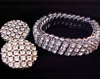 Coro Clear Rhinestone Button Earrings & Expansion Bracelet vintage clip on