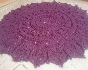 """Handmade Open-work Crochet Shabby Chic/Country/Vintage/Cottage Style Rug DK Cotton Burgundy/Deep Red Wine Colour D84cm/33"""""""