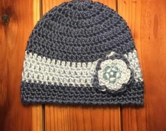 Baby girl infant newborn dark blue light blue beanie hat with flower