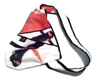 Back small white orange black shoe bag