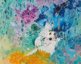 art card, painting, watercolor, dog, maltese, flower
