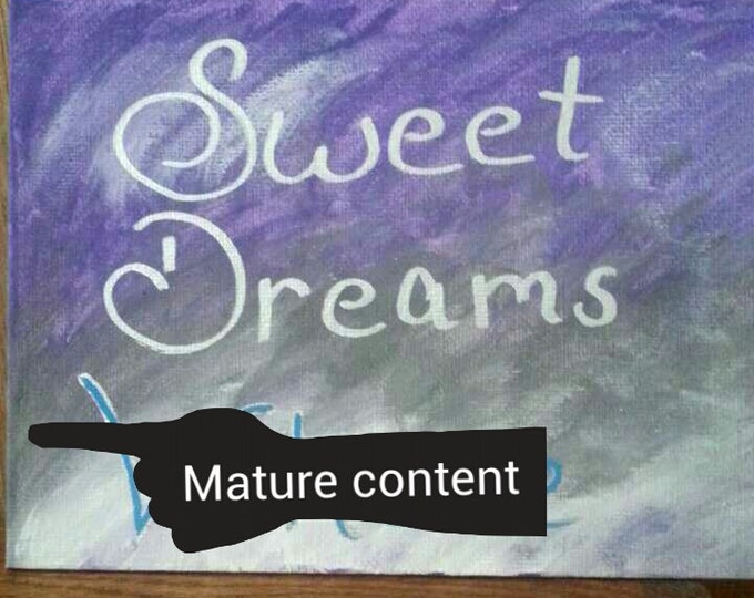 Sweet dreams whore 5 x 7 mixed media mature content painting, bdsm, owned, master, slave, owner, hand painted