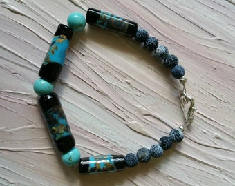 Turquoise and lampworked glass handmade bracelet