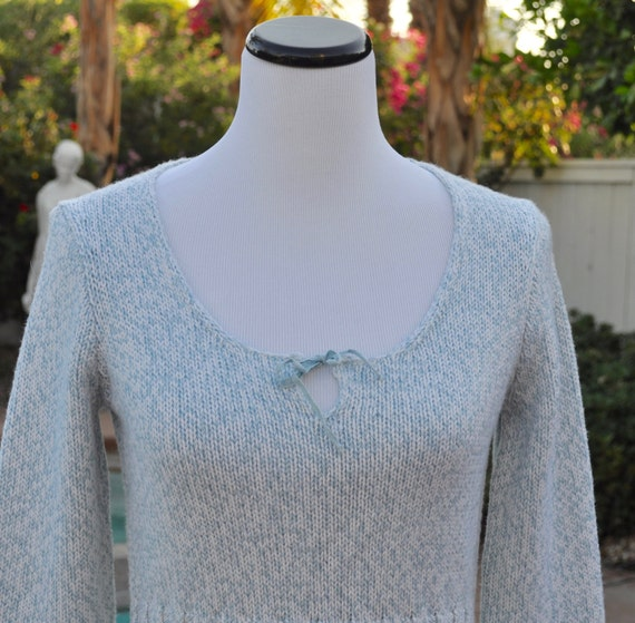 Powder Blue and White Merino Wool J Crew Sweater  with Low Scoop Neck and Tie and Knitted Ribbing Sz S