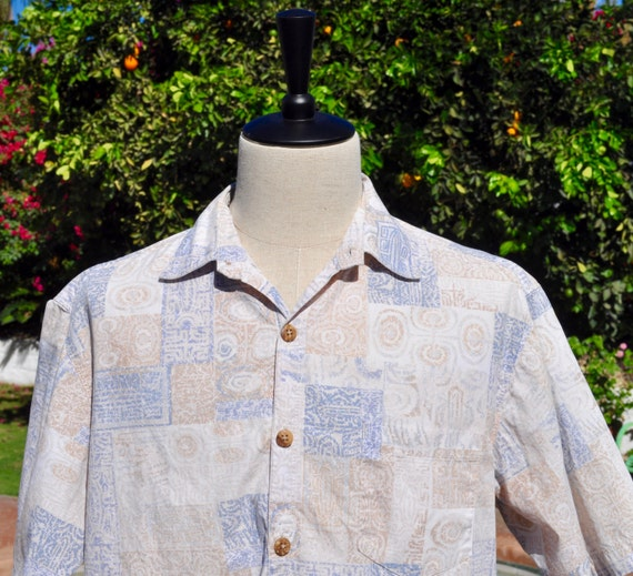 Vintage 90s Men's Pau Hana Cotton Hawaiian Shirt Muted Blue and Beige Tones Sz L