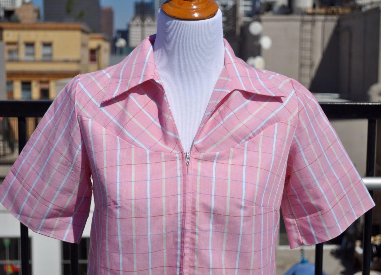 Vintage 1960s Pink Sears Zip Dash PermaSmooth House Dress Sz 10